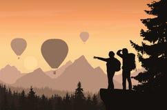 Två fotvandrare som ser ner in i dalen mellan berg med f stock illustrationer