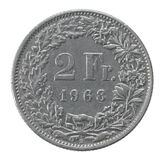 Två franc mynt Royaltyfria Bilder