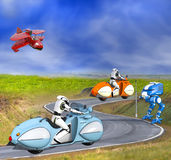Två futuristiska Cyborgs på motorcyklar stock illustrationer