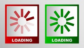 Två fyrkantiga knappar som visar statusen av päfyllningen i röd och grön ton stock illustrationer