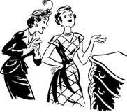 Två gal. med den antika skänken royaltyfri illustrationer