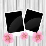 Två gamla foto och rosa färgblommor stock illustrationer