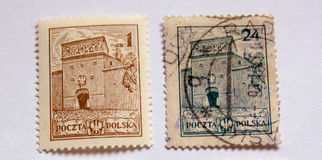 Två gamla portostämplar Royaltyfria Bilder