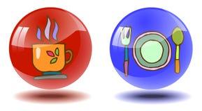 Två genomskinliga skinande knappar med hand-drog bilder stock illustrationer