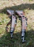 Två gevär i gräset Arkivbild