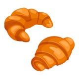 Två giffel bakar design för smördegfärglägenhet på vit stock illustrationer