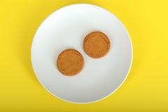 Två Ginger Nut Biscuits Arkivfoton