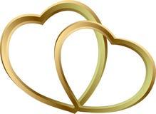 Två glänsande guld- hjärtor Arkivfoto