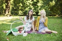Två gladlynta flickvänner som tycker om den extra- tiden parkerar in fotografering för bildbyråer