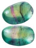 Två gröna gemstones för Fluorite (fluorspar) Arkivfoton