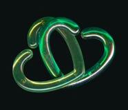 Två gröna Interlocking hjärtor Royaltyfria Foton