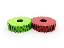 Två gröna kugghjul som är röda och  Royaltyfri Bild