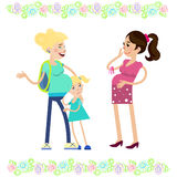 Två gravid kvinna stock illustrationer