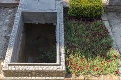 Två gravvalv i en kyrkogård Royaltyfri Fotografi