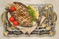 Tv? grillad doradafisk p? en platta fotografering för bildbyråer