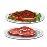 Två grillade biff på en vit bakgrund, mat vektor illustrationer