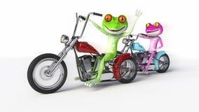 Två grodor som rider motorcyklar Royaltyfria Bilder