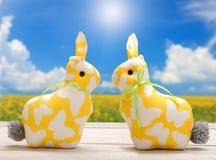 Två gula kaniner för påsk och tomt utrymme för text Påskferiebegrepp royaltyfria foton