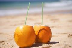 Två gula kokosnötter fotografering för bildbyråer
