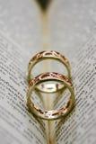 Två guld- cirklar som förläggas i boken Royaltyfria Bilder