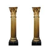 Två guld- kolonner som isoleras på vit bakgrund Royaltyfri Bild