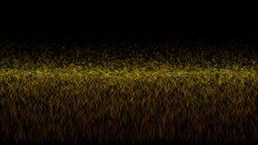 Två guld- linjer med ljusa effekter på svart genomskinlig bakgrund vektor illustrationer