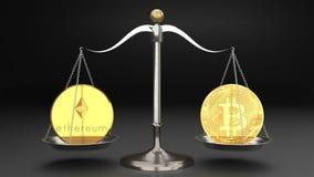 Två guld- mynt, bitcoin och ethereum på en liten skinande metallskala, grå bakgrund, symboliserar två rivaliserande digitala valu stock illustrationer