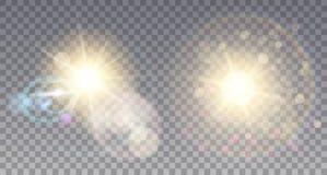Två guld- solar med signalljus stock illustrationer