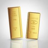 Två guld- stänger med reflexion Royaltyfri Fotografi