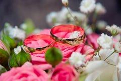 Två guldbröllopcirklar på de rosa blommorna Royaltyfri Fotografi