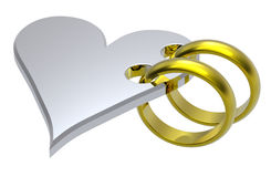 Två guldvigselringar med silverhjärta. Fotografering för Bildbyråer
