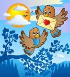 Två gulliga fåglar med förälskelsebokstav 2 Royaltyfri Foto