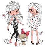 Två gulliga flickor och en hund royaltyfri illustrationer