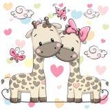 Två gulliga giraff royaltyfri illustrationer