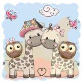 Två gulliga giraff och ugglor vektor illustrationer