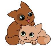 Två gulliga kattungar Royaltyfri Foto