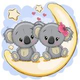 Två gulliga koalor sitter på månen stock illustrationer