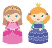 Två gulliga lilla prinsessor som står den plana vektorillustrationen som isoleras på vit arkivfoton