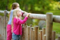 Två gulliga lilla systrar som håller ögonen på djur i zoo på varm och solig sommardag Barn som håller ögonen på zoodjur stå vid f Fotografering för Bildbyråer