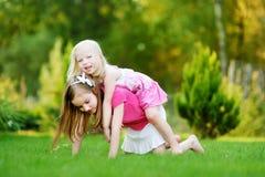 Två gulliga lilla systrar som har gyckel tillsammans på gräset Royaltyfria Bilder