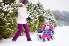 Två gulliga lilla systrar som tycker om sleight, rider med deras moder Royaltyfria Foton