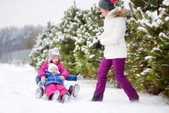 Två gulliga lilla systrar som tycker om sleight, rider med deras moder Royaltyfri Bild