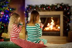 Två gulliga lyckliga flickor som har varm choklad vid en spis i en hemtrevlig mörk vardagsrum på julhelgdagsafton royaltyfri fotografi