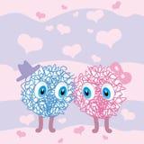 Två gulliga okända varelser visar förälskelse och mjukhet till varandra på rosa himmelbakgrund stock illustrationer
