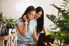 Två gulliga slanka flickor med långt mörkt hår, bärande tillfällig stil, sitter på tabellen och ser uppmärksamt på bärbar datorsk arkivbild