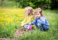 Två gulliga små flickor på naturen Arkivbilder