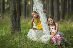Två gulliga små flickor som sitter på en gammal sockel Royaltyfria Bilder