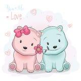 Två gulliga tecknad filmbjörnar pojke och flicka på förälskelsebakgrund royaltyfri illustrationer