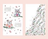Två gulliga ugglor på omslaget också vektor för coreldrawillustration stock illustrationer