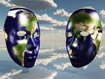 Två hälfter av jord royaltyfri illustrationer